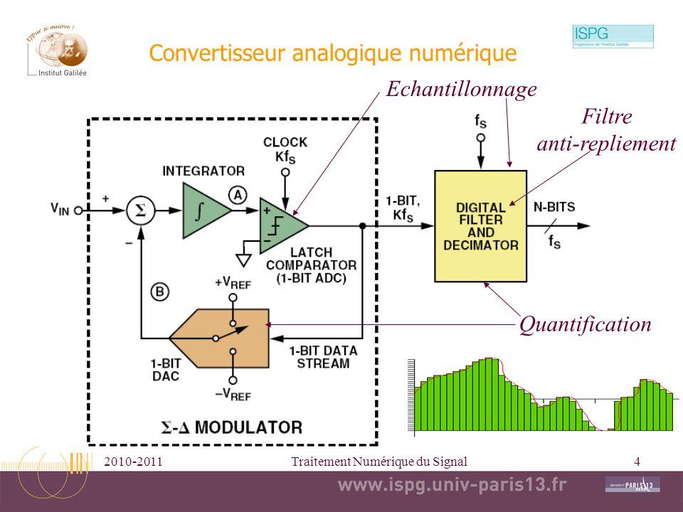 2010-2011Traitement Numérique du Signal4 Convertisseur analogique numérique Echantillonnage Quantification Filtre anti-repliement
