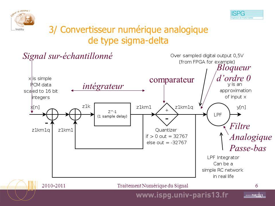 2010-2011Traitement Numérique du Signal6 3/ Convertisseur numérique analogique de type sigma-delta Signal sur-échantillonné intégrateur comparateur Fi