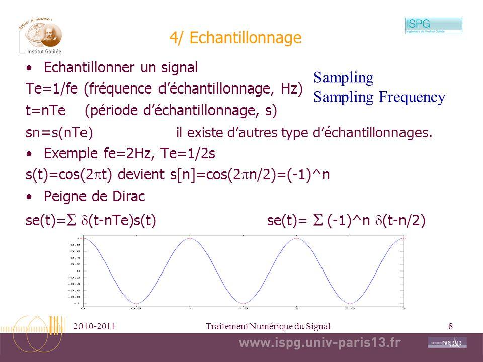 2010-2011Traitement Numérique du Signal8 4/ Echantillonnage Echantillonner un signal Te=1/fe (fréquence déchantillonnage, Hz) t=nTe (période déchantil