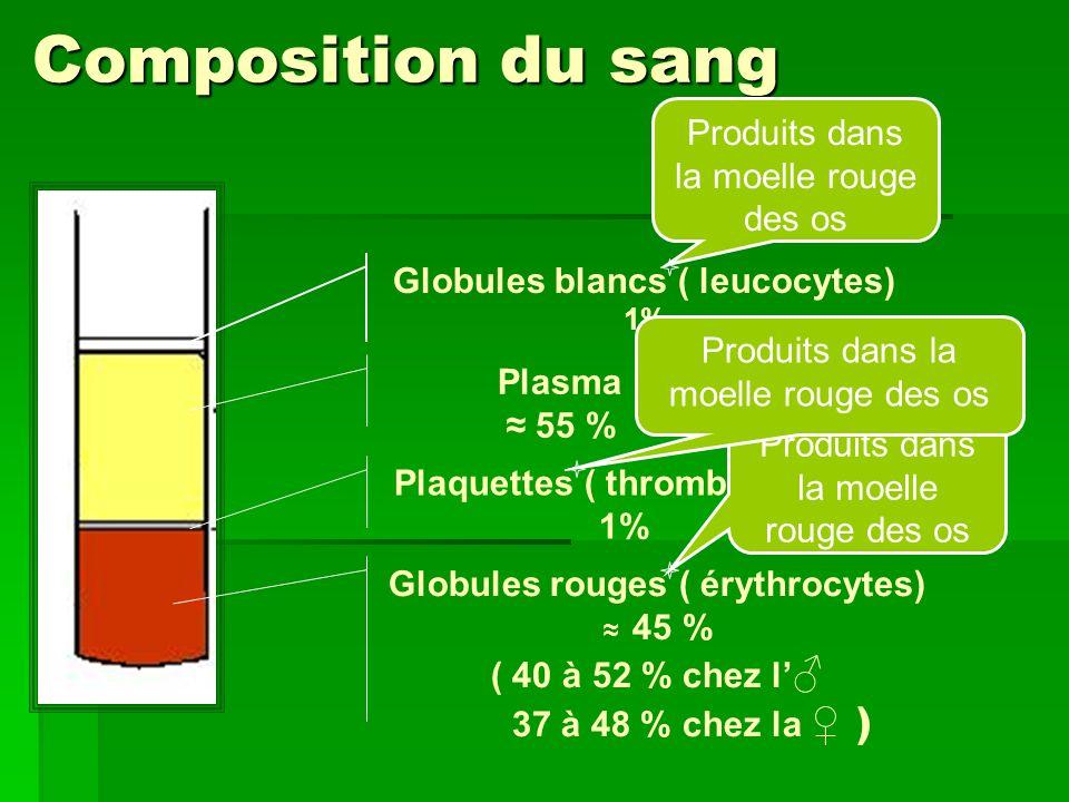 Composition du sang Plasma 55 % Globules rouges ( érythrocytes) 45 % ( 40 à 52 % chez l 37 à 48 % chez la ) Plaquettes ( thrombocytes) 1% Globules bla