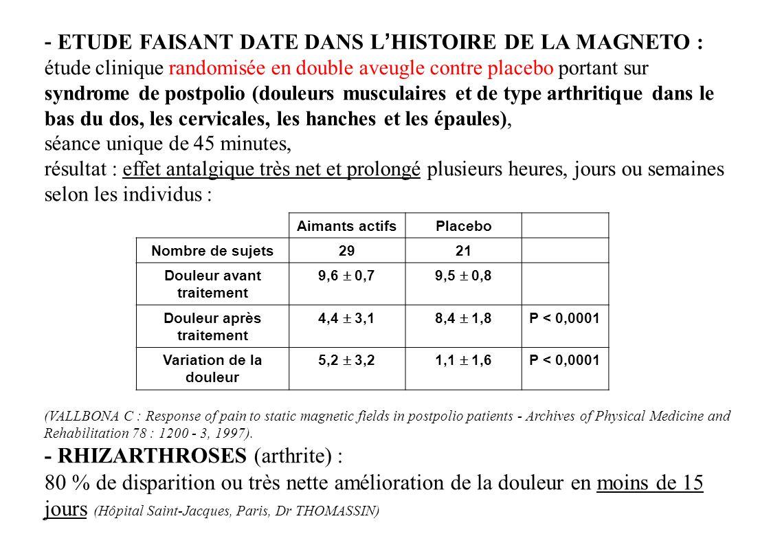 - ETUDE FAISANT DATE DANS LHISTOIRE DE LA MAGNETO : étude clinique randomisée en double aveugle contre placebo portant sur syndrome de postpolio (doul