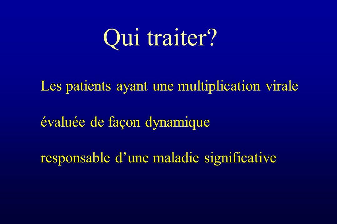 Les patients ayant une multiplication virale évaluée de façon dynamique responsable dune maladie significative Qui traiter?