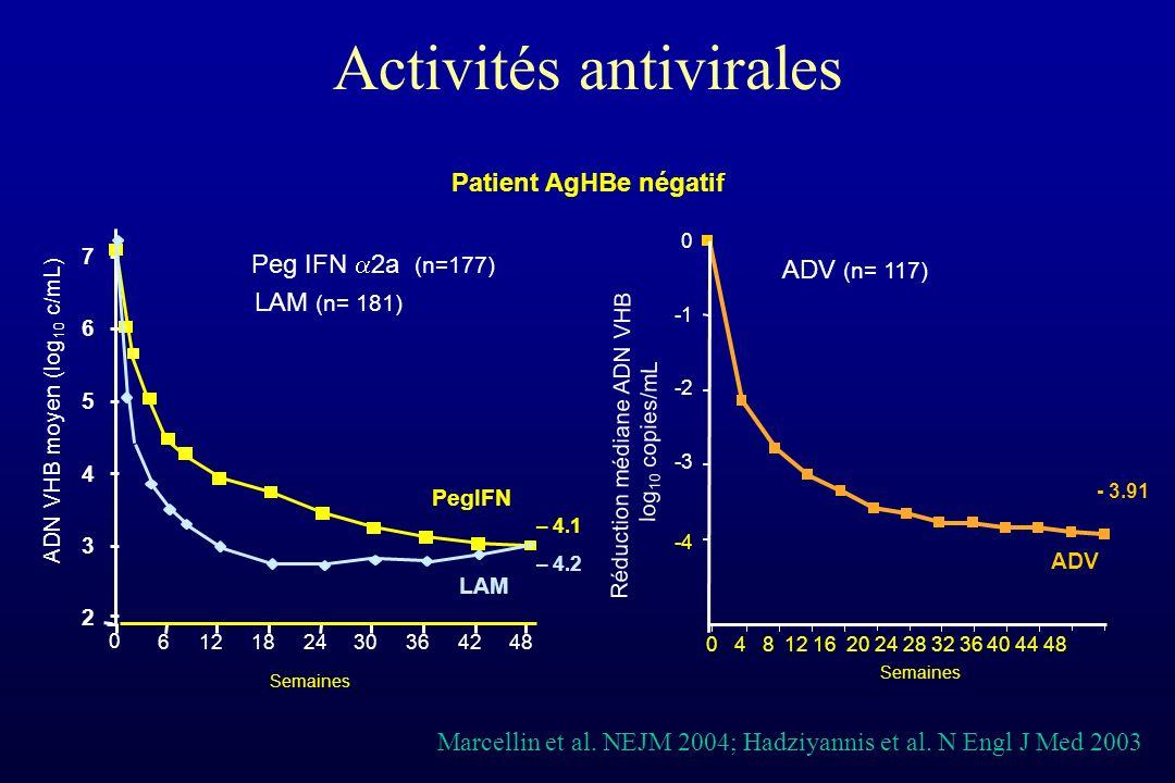Activités antivirales ADV -4 -3 -2 0 0 4 8 12 16 20 24 28 32 36 40 44 48 Semaines Peg IFN 2a (n=177) 0 612182430364248 2 3 4 5 6 7 – 4.1 Semaines LAM