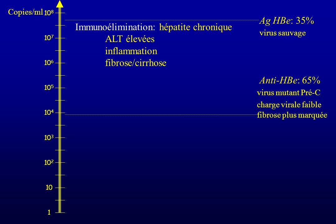1 10 10 2 10 3 10 4 10 5 10 6 10 7 10 8 Immunoélimination: hépatite chronique ALT élevées inflammation fibrose/cirrhose Ag HBe: 35% virus sauvage Anti
