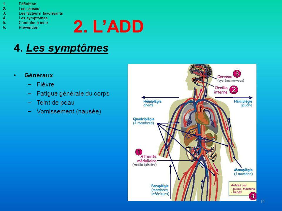 2. LADD 4. Les symptômes Généraux –Fièvre –Fatigue générale du corps –Teint de peau –Vomissement (nausée) 11 1.Définition 2.Les causes 3.Les facteurs