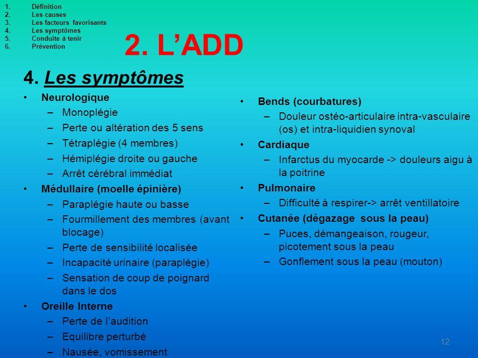 2. LADD 4. Les symptômes Neurologique –Monoplégie –Perte ou altération des 5 sens –Tétraplégie (4 membres) –Hémiplégie droite ou gauche –Arrêt cérébra
