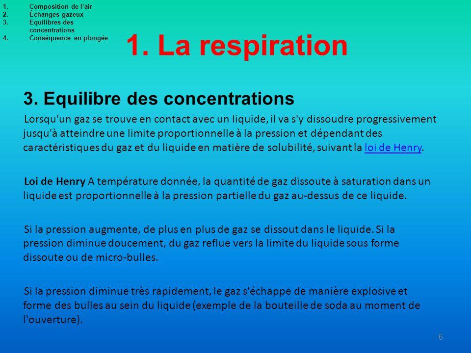1. La respiration 3. Equilibre des concentrations Lorsqu'un gaz se trouve en contact avec un liquide, il va s'y dissoudre progressivement jusqu'à atte