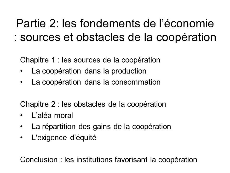 Partie 2: les fondements de léconomie : sources et obstacles de la coopération Chapitre 1 : les sources de la coopération La coopération dans la produ
