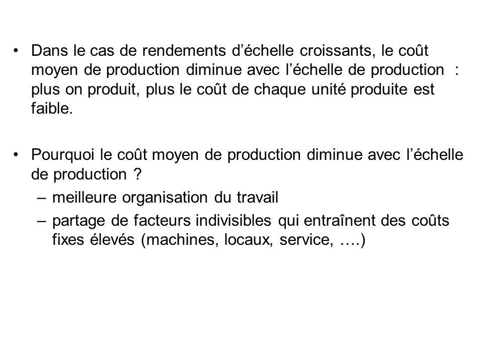 Dans le cas de rendements déchelle croissants, le coût moyen de production diminue avec léchelle de production : plus on produit, plus le coût de chaq