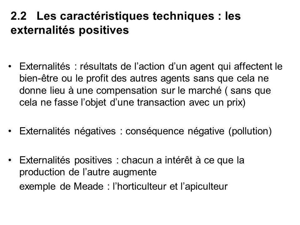 2.2 Les caractéristiques techniques : les externalités positives Externalités : résultats de laction dun agent qui affectent le bien-être ou le profit