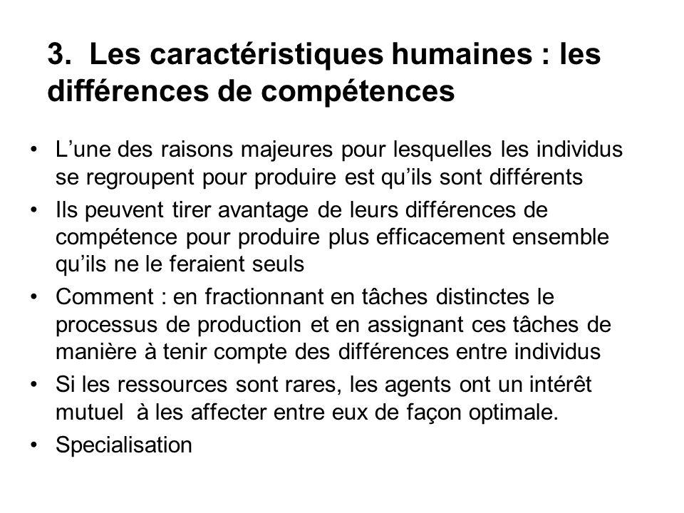 3. Les caractéristiques humaines : les différences de compétences Lune des raisons majeures pour lesquelles les individus se regroupent pour produire