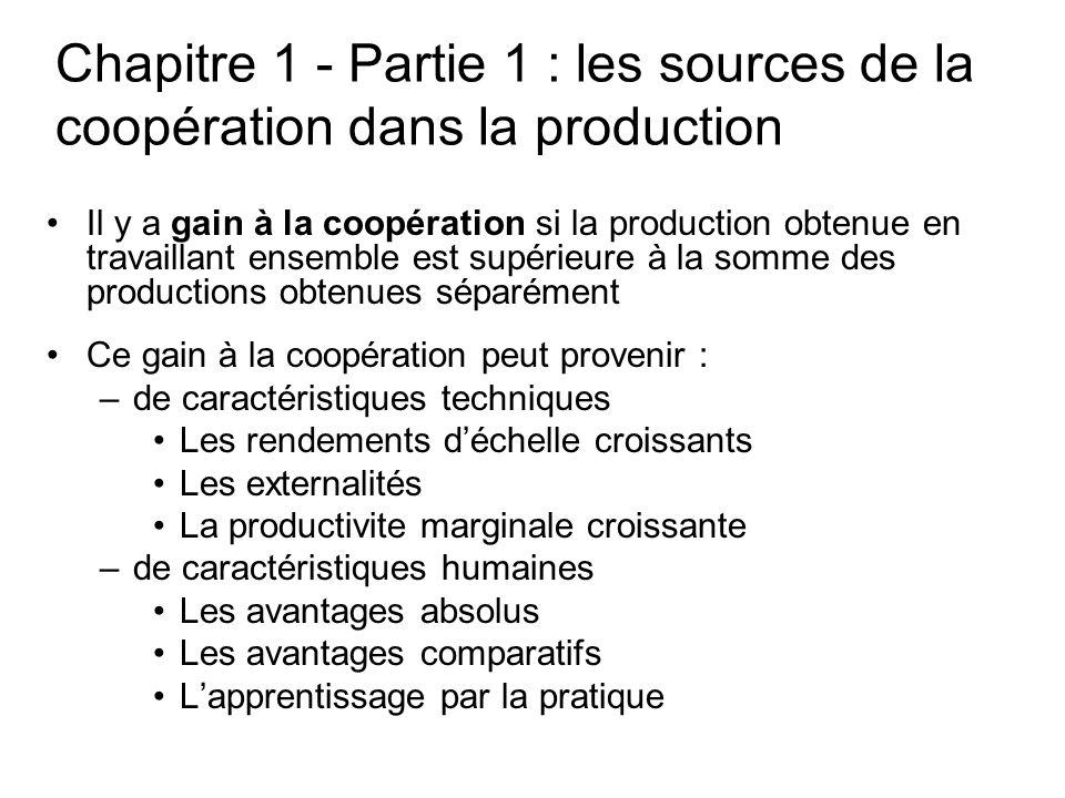 Chapitre 1 - Partie 1 : les sources de la coopération dans la production Il y a gain à la coopération si la production obtenue en travaillant ensemble