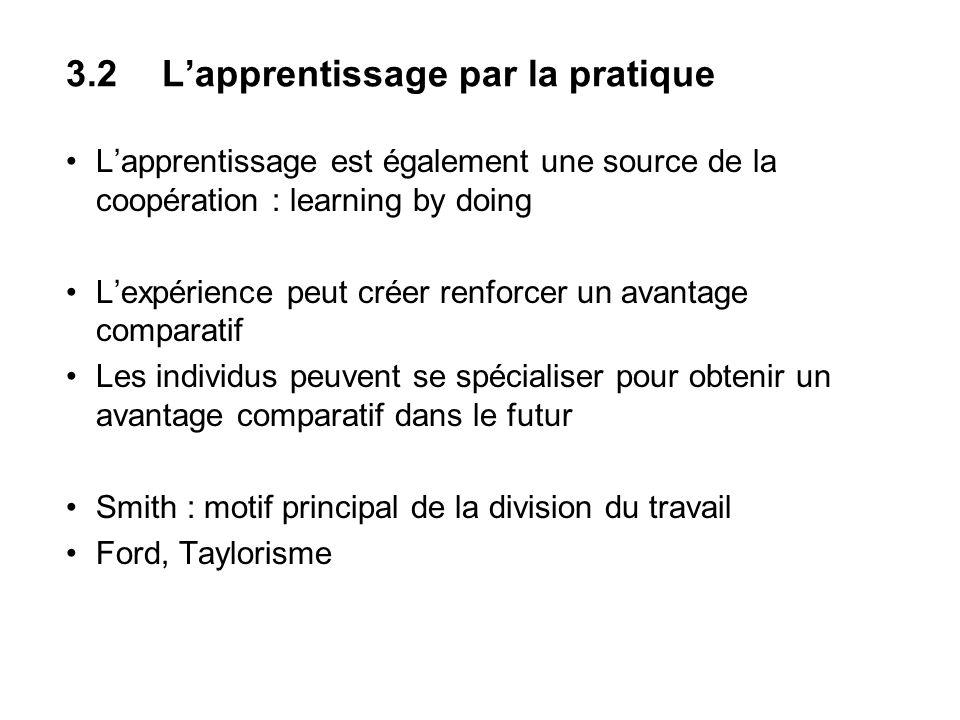 3.2 Lapprentissage par la pratique Lapprentissage est également une source de la coopération : learning by doing Lexpérience peut créer renforcer un a