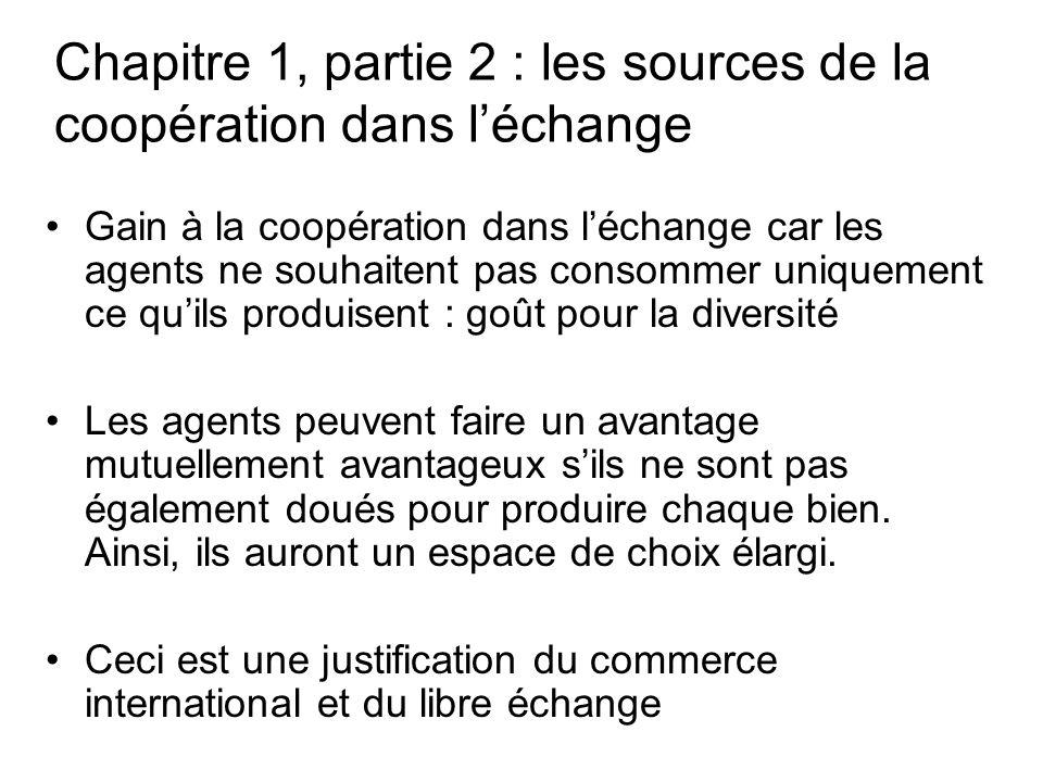 Chapitre 1, partie 2 : les sources de la coopération dans léchange Gain à la coopération dans léchange car les agents ne souhaitent pas consommer uniq