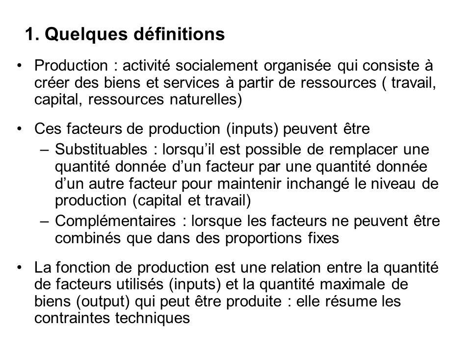 1. Quelques définitions Production : activité socialement organisée qui consiste à créer des biens et services à partir de ressources ( travail, capit