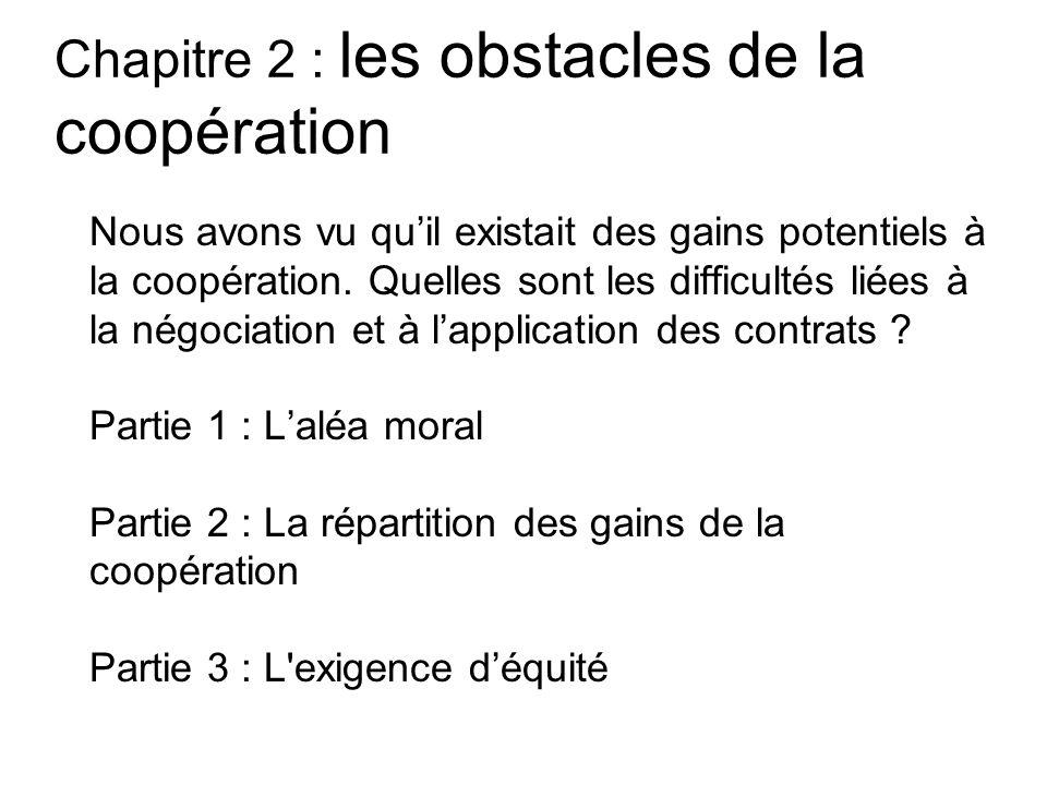 Chapitre 2 : les obstacles de la coopération Nous avons vu quil existait des gains potentiels à la coopération. Quelles sont les difficultés liées à l