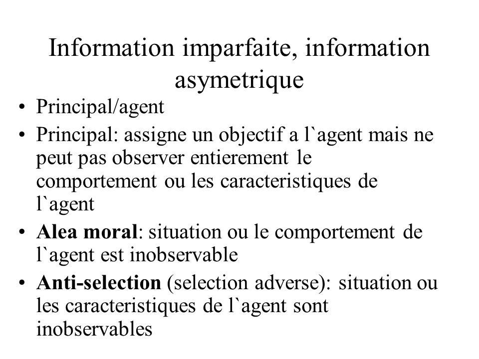 Information imparfaite, information asymetrique Principal/agent Principal: assigne un objectif a l`agent mais ne peut pas observer entierement le comp