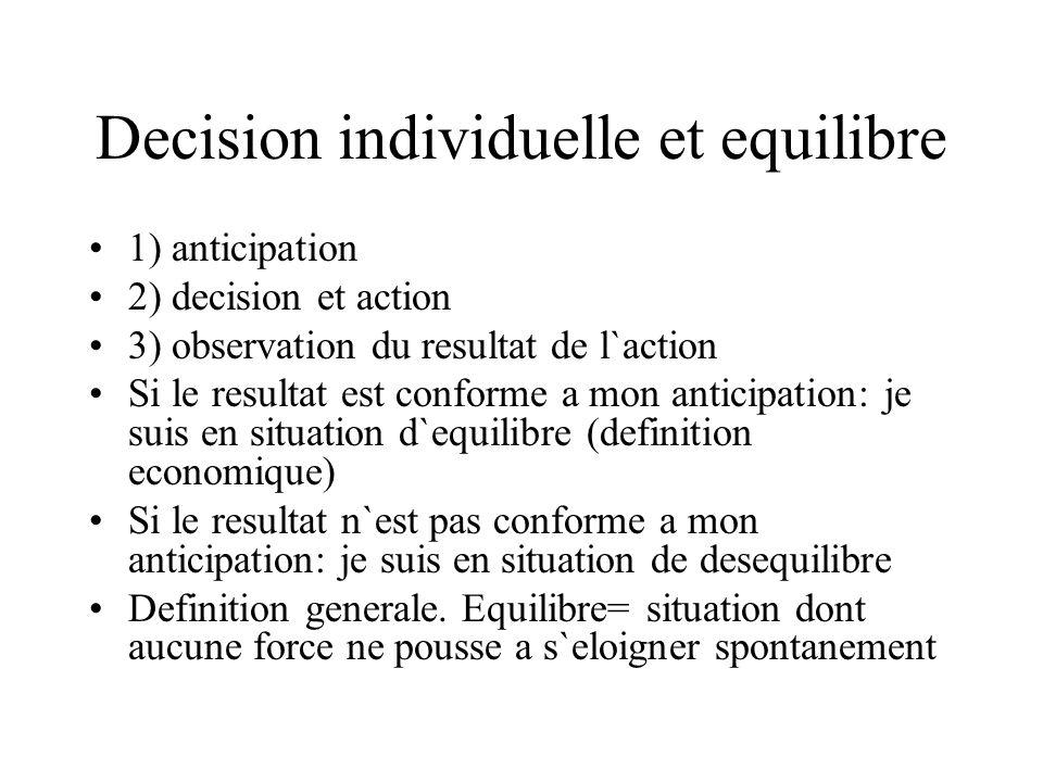 Decision individuelle et equilibre 1) anticipation 2) decision et action 3) observation du resultat de l`action Si le resultat est conforme a mon anti