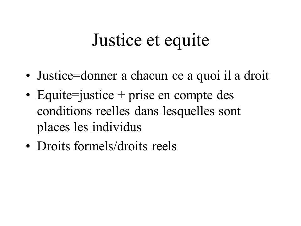 Justice et equite Justice=donner a chacun ce a quoi il a droit Equite=justice + prise en compte des conditions reelles dans lesquelles sont places les