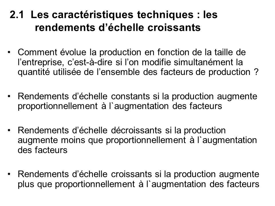 2.1 Les caractéristiques techniques : les rendements déchelle croissants Comment évolue la production en fonction de la taille de lentreprise, cest-à-