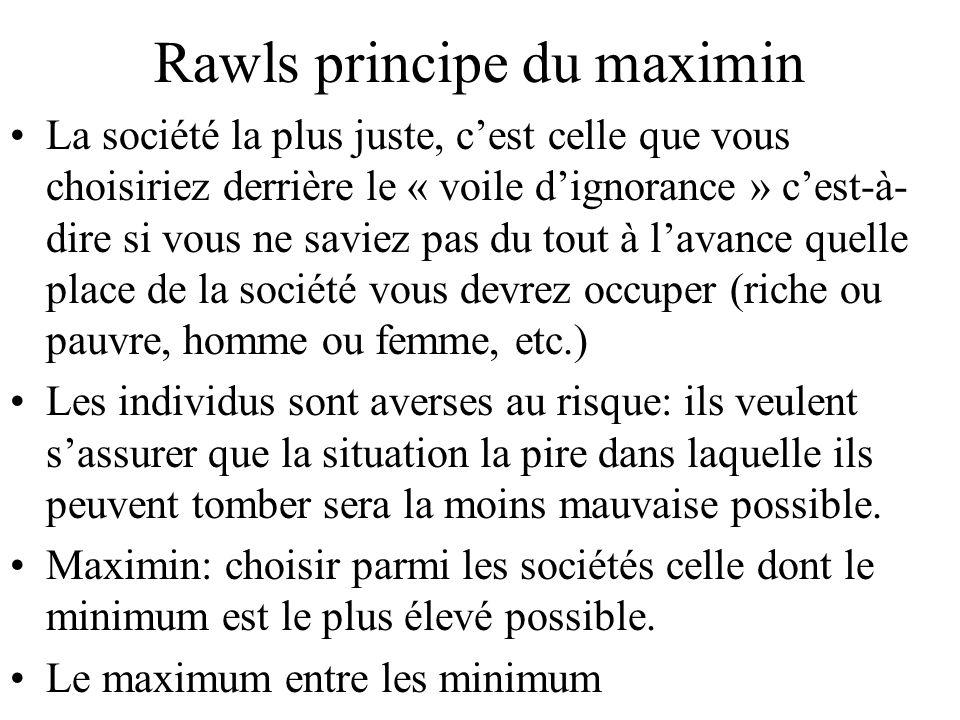 Rawls principe du maximin La société la plus juste, cest celle que vous choisiriez derrière le « voile dignorance » cest-à- dire si vous ne saviez pas