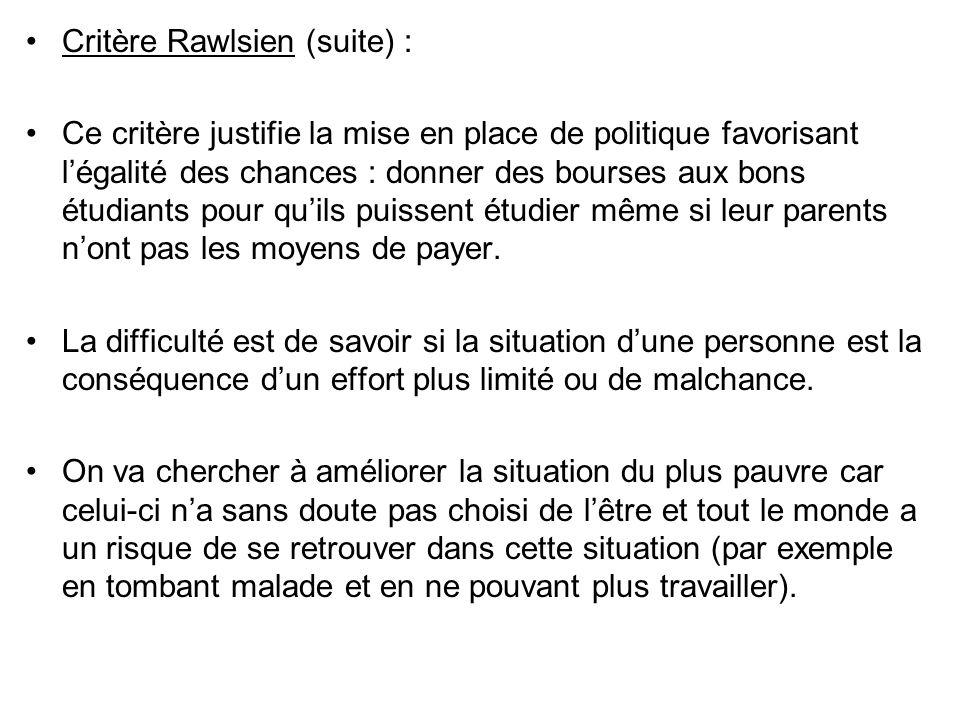 Critère Rawlsien (suite) : Ce critère justifie la mise en place de politique favorisant légalité des chances : donner des bourses aux bons étudiants p