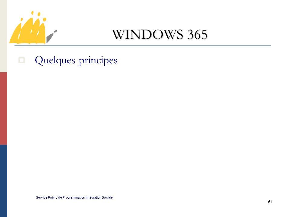 61 WINDOWS 365 Service Public de Programmation Int é gration Sociale, Quelques principes