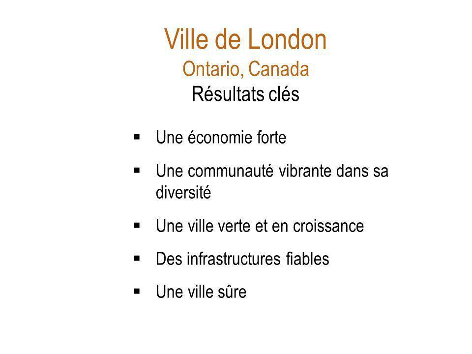Ville de London Ontario, Canada Résultats clés Une économie forte Une communauté vibrante dans sa diversité Une ville verte et en croissance Des infrastructures fiables Une ville sûre Source: Draft Strategic Plan Sept 2011