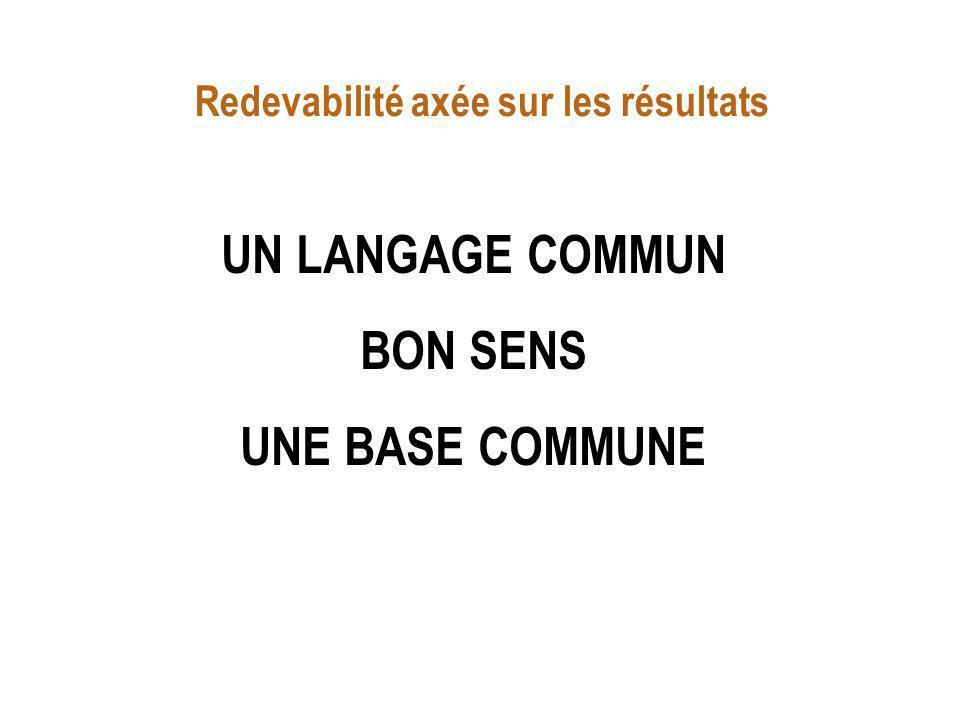 UN LANGAGE COMMUN BON SENS UNE BASE COMMUNE Redevabilité axée sur les résultats
