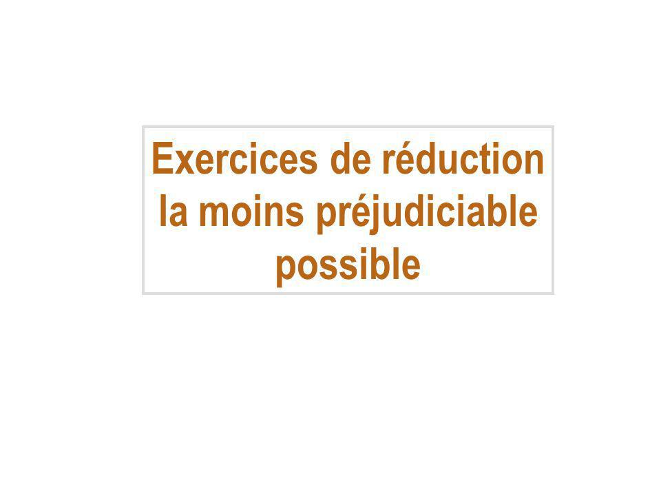Exercices de réduction la moins préjudiciable possible