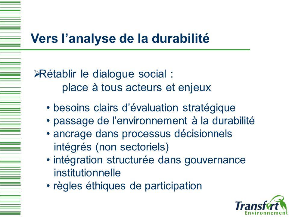 Rétablir le dialogue social : place à tous acteurs et enjeux besoins clairs dévaluation stratégique passage de lenvironnement à la durabilité ancrage dans processus décisionnels intégrés (non sectoriels) intégration structurée dans gouvernance institutionnelle règles éthiques de participation Vers lanalyse de la durabilité