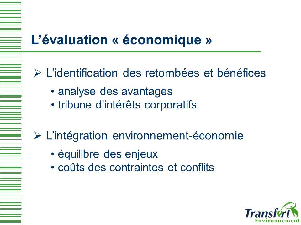 Lévaluation « économique » Lidentification des retombées et bénéfices analyse des avantages tribune dintérêts corporatifs Lintégration environnement-économie équilibre des enjeux coûts des contraintes et conflits