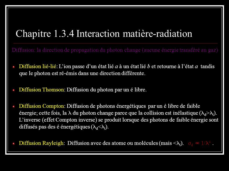 Chapitre 1.3.4 Interaction matière-radiation Diffusion: la direction de propagation du photon change (aucune énergie transféré au gaz) Diffusion lié-l