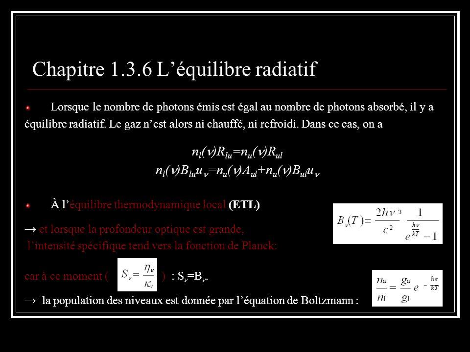 Chapitre 1.3.6 Léquilibre radiatif Lorsque le nombre de photons émis est égal au nombre de photons absorbé, il y a équilibre radiatif. Le gaz nest alo