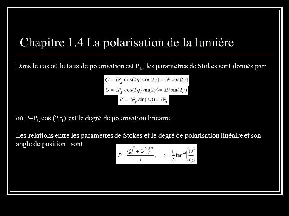 Chapitre 1.4 La polarisation de la lumière Dans le cas où le taux de polarisation est P E, les paramètres de Stokes sont donnés par: où P=P E cos (2 )