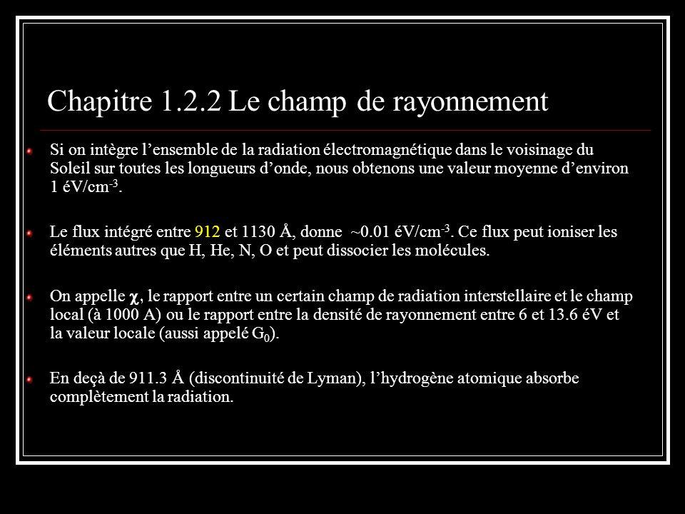 Chapitre 1.2.3 Le champ magnétique D) Par la polarisation linéaire de la lumière des étoiles Leffet dun champ magnétique sur les grains de poussière est de les aligner (du moins partiellement) dans la direction perpendiculaire aux lignes de champ, si naturellement, ils ne sont pas sphériques.