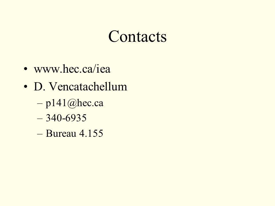 Contacts www.hec.ca/iea D. Vencatachellum –p141@hec.ca –340-6935 –Bureau 4.155