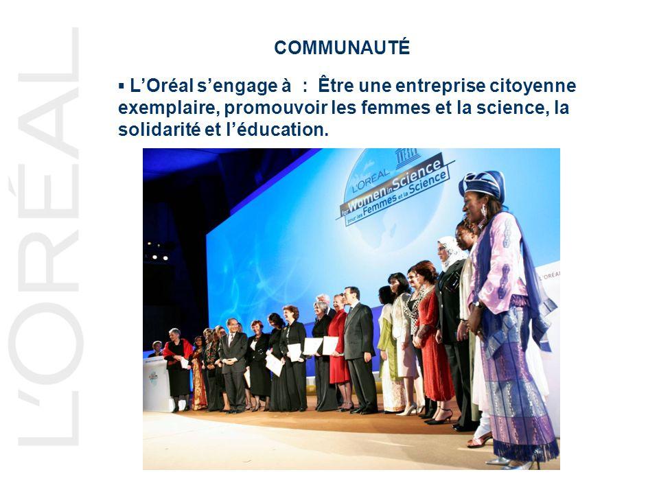 COMMUNAUTÉ LOréal sengage à : Être une entreprise citoyenne exemplaire, promouvoir les femmes et la science, la solidarité et léducation.