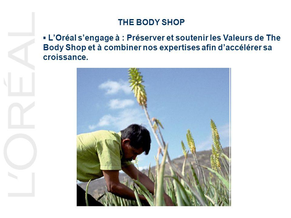 THE BODY SHOP LOréal sengage à : Préserver et soutenir les Valeurs de The Body Shop et à combiner nos expertises afin daccélérer sa croissance.