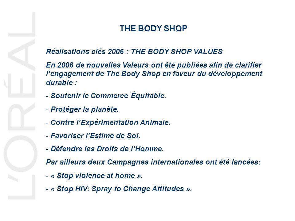 THE BODY SHOP Réalisations clés 2006 : THE BODY SHOP VALUES En 2006 de nouvelles Valeurs ont été publiées afin de clarifier lengagement de The Body Shop en faveur du développement durable : - Soutenir le Commerce Équitable.