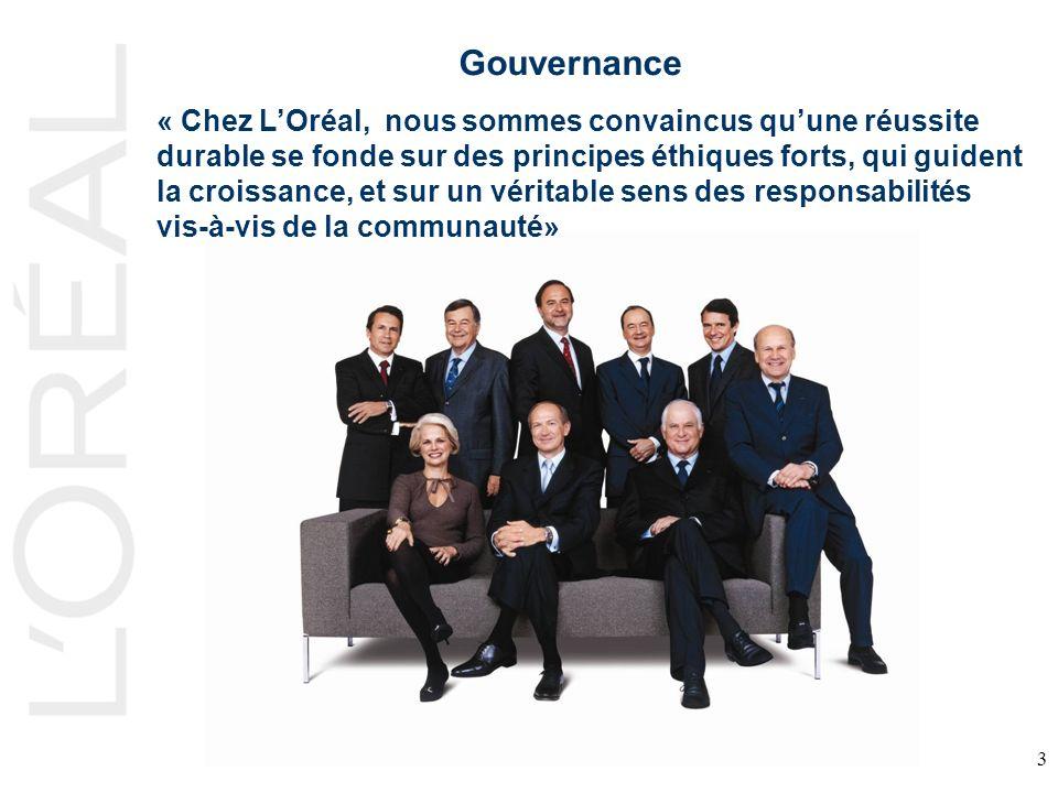 3 Gouvernance « Chez LOréal, nous sommes convaincus quune réussite durable se fonde sur des principes éthiques forts, qui guident la croissance, et sur un véritable sens des responsabilités vis-à-vis de la communauté»