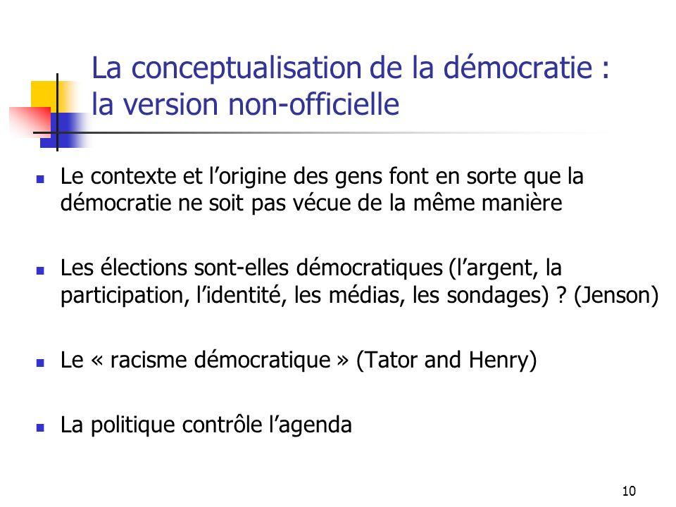10 La conceptualisation de la démocratie : la version non-officielle Le contexte et lorigine des gens font en sorte que la démocratie ne soit pas vécue de la même manière Les élections sont-elles démocratiques (largent, la participation, lidentité, les médias, les sondages) .
