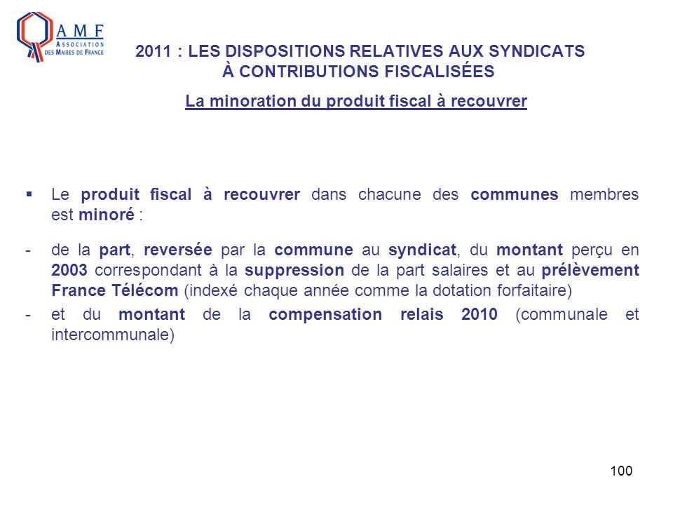 100 2011 : LES DISPOSITIONS RELATIVES AUX SYNDICATS À CONTRIBUTIONS FISCALISÉES La minoration du produit fiscal à recouvrer Le produit fiscal à recouv