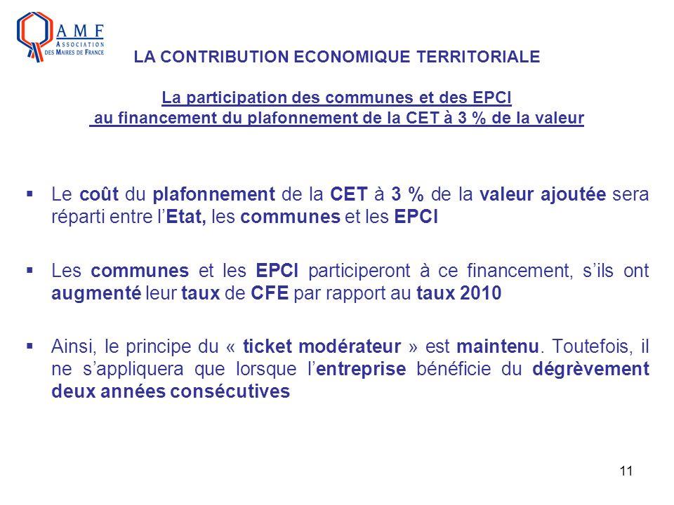 11 Le coût du plafonnement de la CET à 3 % de la valeur ajoutée sera réparti entre lEtat, les communes et les EPCI Les communes et les EPCI participer