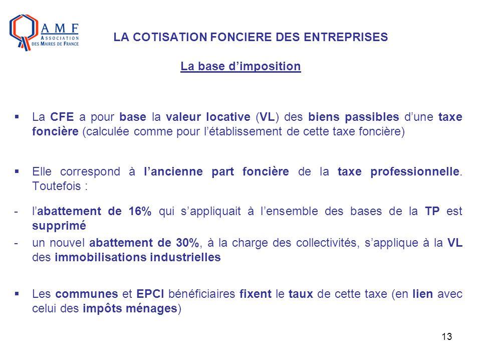 13 LA COTISATION FONCIERE DES ENTREPRISES La base dimposition La CFE a pour base la valeur locative (VL) des biens passibles dune taxe foncière (calcu
