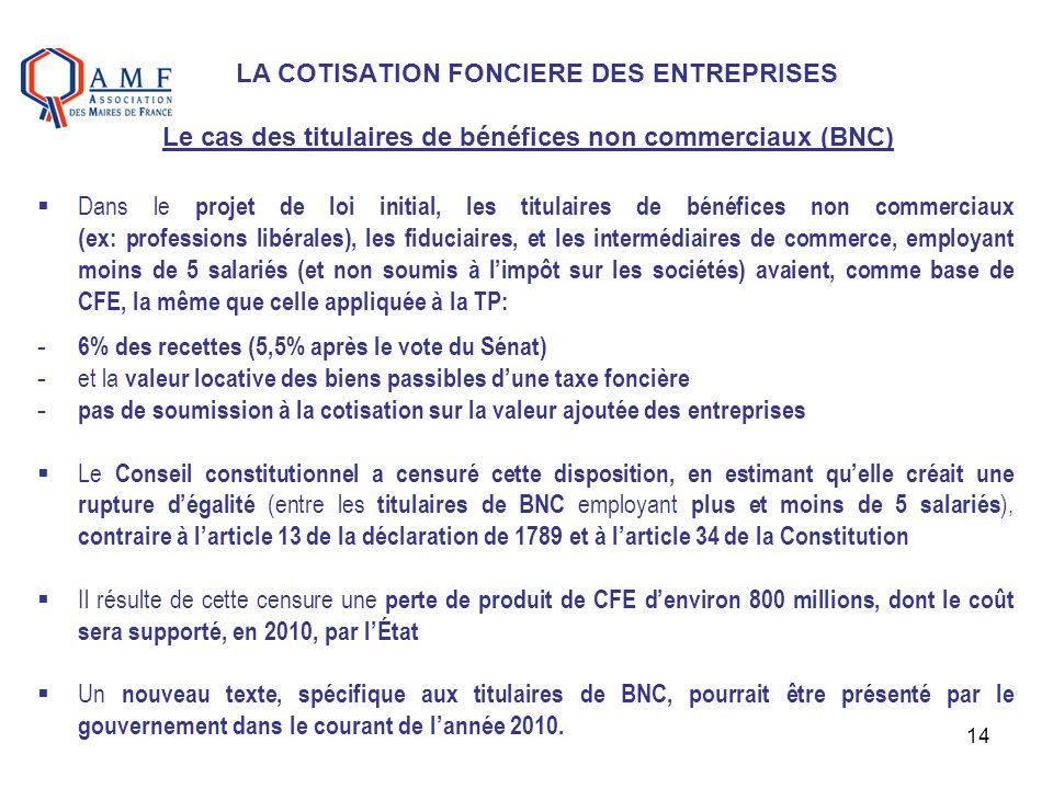 14 LA COTISATION FONCIERE DES ENTREPRISES Le cas des titulaires de bénéfices non commerciaux (BNC) Dans le projet de loi initial, les titulaires de bé