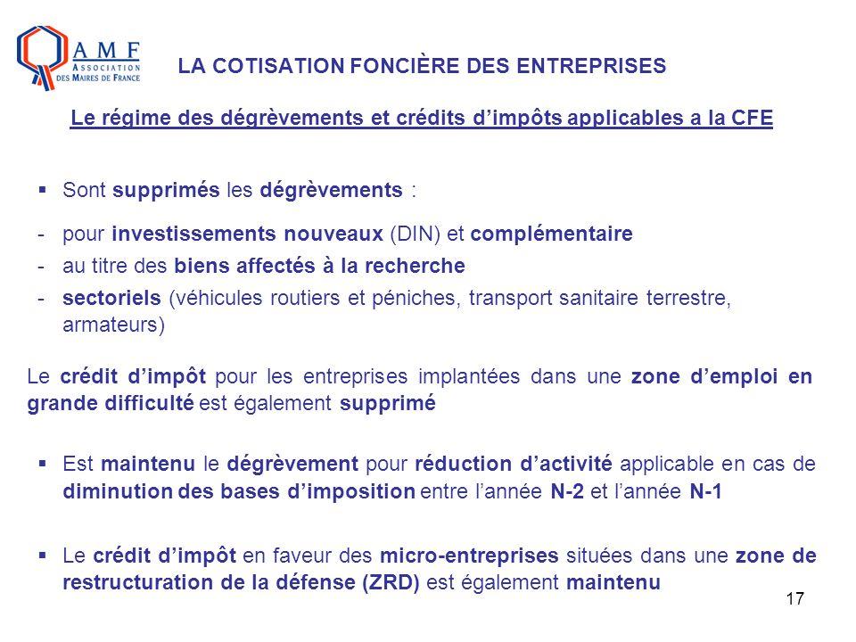 17 LA COTISATION FONCIÈRE DES ENTREPRISES Le régime des dégrèvements et crédits dimpôts applicables a la CFE Sont supprimés les dégrèvements : -pour i