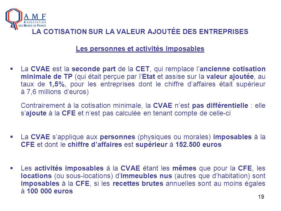 19 LA COTISATION SUR LA VALEUR AJOUTÉE DES ENTREPRISES Les personnes et activités imposables La CVAE est la seconde part de la CET, qui remplace lanci