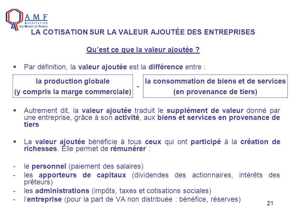 21 Par définition, la valeur ajoutée est la différence entre : Autrement dit, la valeur ajoutée traduit le supplément de valeur donné par une entrepri