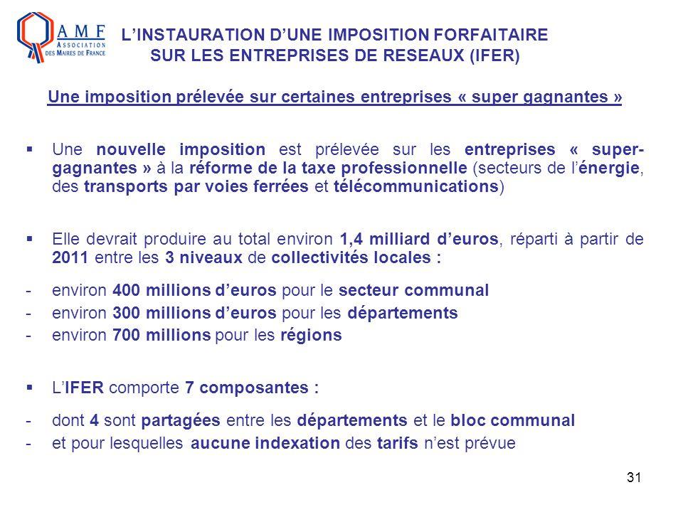 31 LINSTAURATION DUNE IMPOSITION FORFAITAIRE SUR LES ENTREPRISES DE RESEAUX (IFER) Une imposition prélevée sur certaines entreprises « super gagnantes